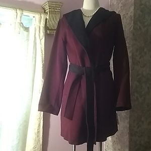 Michael kors burgundy/black wool coat. NWT